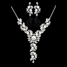 Luxury Bridal Flower Necklace Earring Set Ivory by Voguejewelry4u, $31.99