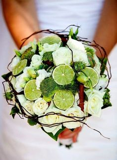 Fruit and Vegetable Wedding Bouquets: white roses, limes and broccoli