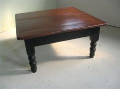 Could redo coffee table with this look .... Brown cherry finish top with black/espresso base and turned legs