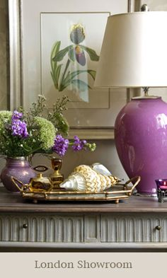 Gorgeous use of purple for a lovely living room.