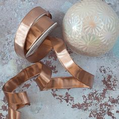 Metallic Rose Gold Wire Edged Ribbon 25mm - 20 Metre Roll.  Copper