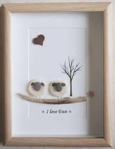 This is a beautiful small Pebble Art framed Picture of 2 Sheep - I love Ewe handmade by myself using Pebbles, Needle Craft Sheep, Driftwood & Wooden Heart Size of Picture incl Frame : approx. x This Picture is finished and only available as shown Stone Crafts, Rock Crafts, Arts And Crafts, Pebble Pictures, Art Pictures, Stone Pictures, Art Encadrée, Art Pierre, Pebble Art Family