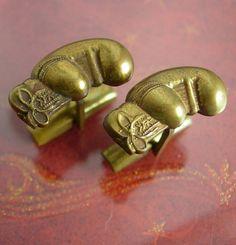Vintage GOLDEN Boxing GLOVES Cufflinks Set by NeatstuffAntiques