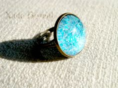 Sparkly Blue adjustable glass ring