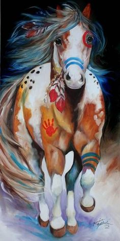BRAVE ~ the INDIAN WAR HORSE - by Marcia Baldwin from Animal Wildlife Art Gallery Wow What a beautiful horse. I love these horses - this would not scare me though. Native American Horses, Native American Paintings, Native American Nursery, American Indians, Native American Drawing, Native American Tattoos, Native American Decor, Running Art, Horse Running Drawing