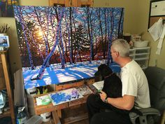 Painting with Marley My little poodle Marley often comes into my studio when I…
