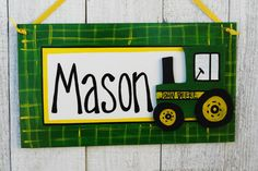 Tractor Kids sign/Tractor cutout/ Name, Birthday, John Deere