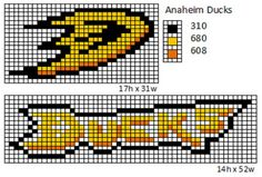 Here is patterns for the logos and name plates for the current teams of the NHL. If anyone would like the patterns for any of the teams tha. Baby Bibs Patterns, Loom Patterns, Cross Stitch Patterns, Nhl Logos, Hockey Logos, Sports Logos, Hockey Teams, Sports Teams, Soccer