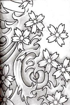 Looks like one of my tattoos. Japanese Tattoo Symbols, Japanese Tattoo Art, Japanese Tattoo Designs, Japanese Sleeve Tattoos, Japanese Flower Tattoos, Stencils Tatuagem, Tattoo Stencils, Flor Oriental Tattoo, Rauch Tattoo