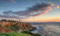 Point Vicente Lighthouse at sunset, with Catalina Island.