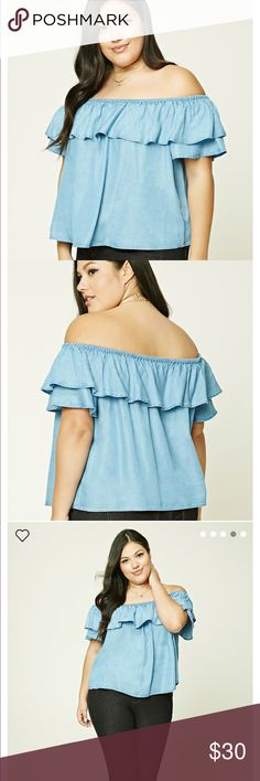 Ruffle Off the Shoulder Jean Top Off the shoulder top in a jean material...never worn...tag still attached....NO TRADES OR PAYPAL Forever 21 Tops