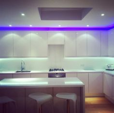 Marvelous White Purple Led Lighting Design Inspiration Kitchen Led