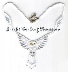 Snowy Owl - Peyote/Brick stitch Regalia Necklace.