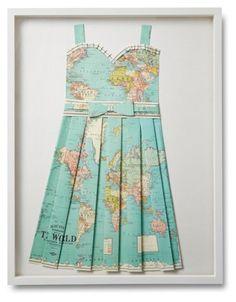Folded Paper Map Dress, Globe - Dawn Wolfe Design - Brands | One Kings Lane