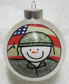 Army Snowman Military Christmas Ornament   Christmas ornament ...