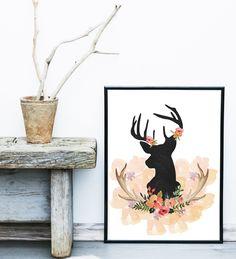Floral deer printable, deer wall art, deer nursery decor, boho printable, deer silhouette, chalkboard deer print, shabby chic wall art. by MSdesignart on Etsy