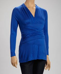 Loving this Royal Blue Maternity Drape Top on #zulily! #zulilyfinds