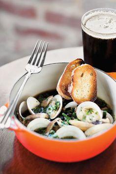 Woodfired Clams With Holy City Porter Beer Broth Shiitake Mushrooms Kale Crispy Toast | Recipes | Recipes | Food Arts