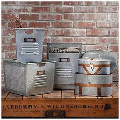 Pottery Barn Galvanized Entertainment Collection Knock Offs - District 23™ Galvanized Metal Storage Bins $15 - $28 at Big Lots.