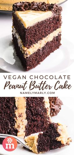 If you love chocolate and peanut butter, this vegan Chocolate Peanut Butter Cake recipe will be your favorite cake ever ! Extra moist chocolate cake, creamy peanut butter frosting, and tasty chocolate ganache dollops on top! All the stuff you love in a cake! #veganchocolatepeanutbuttercake #chocolatepeanutbuttercake #chocolateandpeanutbutter #vegancake #veganpeanutbutterfrosting #veganfrosting #vegandesserts #vegan #namelymarly