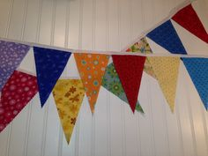 9 Feet, Bunting, Banner with 14 Fabric Pennant Flags Multi Colored via Etsy