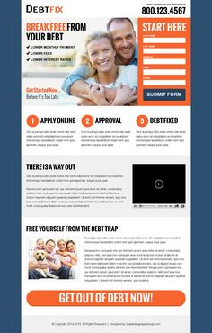 get out of debt business service lead capture landing page design templates to free yourself from the debt trap