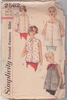 MOMSPatterns Vintage Sewing Patterns - Simplicity 2562 Vintage 50's Sewing Pattern WHIMSICAL Lucy Mad Men Square Neck or Collared Tent Smock Top, Bubble Bloused Blouse Set