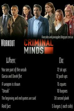 Workout while watching Criminal Minds  | Posted By: NewHowToLoseBellyFat.com
