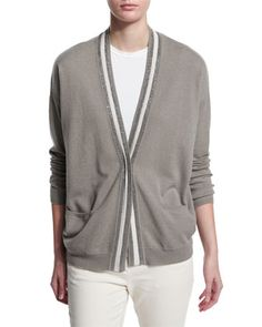 Rugby-Striped+2-Ply+Cashmere+Cardigan,+Green+by+Brunello+Cucinelli