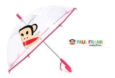 Childrens Kids Clear Lightweight Hook see-thru Paul frank safety tips Umbrellas Name tag : prevent to be lost 3 Size & 2 Color : You can shoose  Appropriate for ages 6 - 8 years old Metal Shaft, Ribs, and Round Plastic Tips   Matching Plastic Hook Handle : U shaped, easy to grab Clear PVC Canopy (Dome Frame/Build) Brand- Paulfrank  Color- Clear  : Can help the children with their visibility and safety  With press the button that automatically opens the umbrella Easy to use by the children