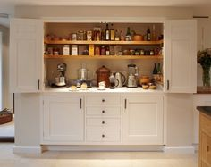 Traditional Kitchen by Figura Kitchens & Interiors - cupboard for small applianc. - Traditional Kitchen by Figura Kitchens & Interiors – cupboard for small appliances – storing AN - Kitchen Appliance Storage, Kitchen Cupboards, Kitchen Pantry, New Kitchen, Appliance Garage, Pantry Storage, Cabinet Storage, Corner Pantry, Kitchen Small