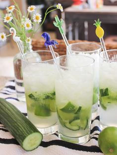 The Pepino: you'll need a cucumber, limes, vodka and sprite. Chop up the lime and cucumber and throw in a tall glass. Use about half a lime and an eighth of a giant cucumber. Top with 1-2 oz. of vodka and muddle. Add lots of crushed ice and top of with a little sprite and enjoy!