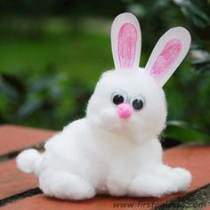 Cotton Bunny craft -  Quick n easy. Used cardboard cutouts for nose and eyes, made cottonwool ears #crayons #DIY #kids #Easter