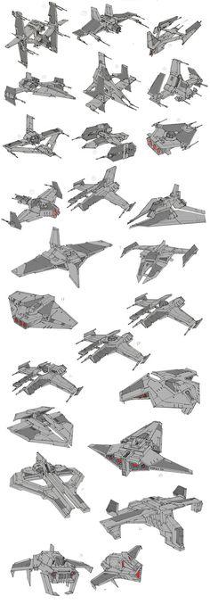 Star Wars The Old Republic- Sith Fighter Process Breakdown, Christian Piccolo on ArtStation at https://www.artstation.com/artwork/3dm5J