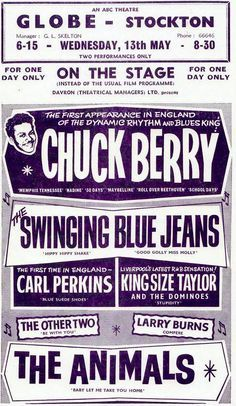 chuck berry - carl perkins - the animals; Pop Posters, Band Posters, Vintage Concert Posters, Vintage Posters, Chuck Berry, Music Images, Rock Concert, Musical, Rock And Roll