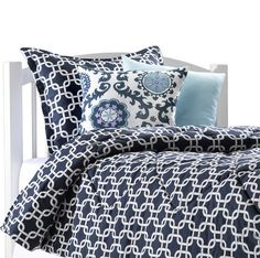 Navy Metro Dorm Bedding – American Made Dorm & Home. Make your dorm a home with this navy metro bedding! Shown with rosa berries damask and robin's egg blue accent pillow. Looks great with a monogrammed white and navy euro sham. Shop Now!! Made in USA $119.99