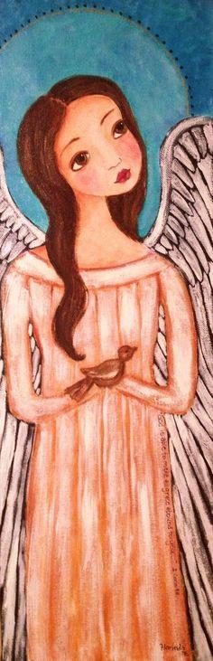 Original Folkart Scripture Angel Painting Grace by Florinda