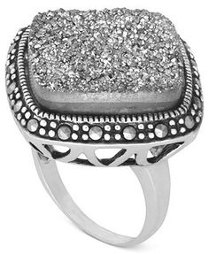 Genevieve & Grace Sterling Silver Ring, Marcasite Druzy (13-3/8 ct. t.w.) Square Ring