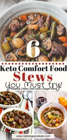 6 easy, family friendly, low carb and keto comfort food recipes for dinner! I know you are short on time, these fast keto dinner ideas are a huge timesaver if you're super busy. These recipes make ideal healthy low carb and keto meal prep dinners your fam Low Carb Meal Plan, Low Carb Dinner Recipes, Healthy Soup Recipes, Keto Dinner, Low Carb Keto, Diet Recipes, Lunch Recipes, Keto Fat, Dinner Healthy