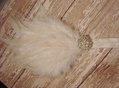 Elegant White Hackle Feather Pad Headband by LaBandeauxBowtique, $10.00