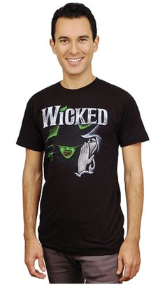 """Black unisex tee with Wicked sketch logo on the front. """"Defy Gravity"""" appears on the back, just beneath the collar. Smoke Logo, Organic Cotton, Musicals, Broadway, Wicked, Your Style, Unisex, Logos, Tees"""