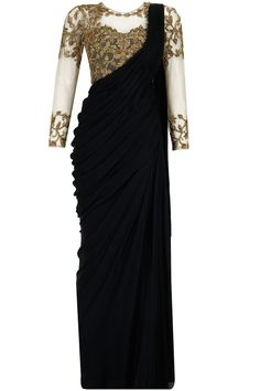 Black antique gold embroidered pre stitched sari-gown by Sonaakshi Raaj