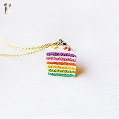 Elfi Handmade Cute Rainbow Cake Necklace, Miniature Food Jewelry Sprinkles Cake Charm, Dessert, Sliced Cake, Colorful, Lolita, Kawaii, Perfect for Christmas gifts - Wedding nacklaces (*Amazon Partner-Link)