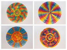 Set of 4 handmade mandalas for christmas ornament, coaster, pendant, dreamcatcher or wall decoration.  Decorate your christmas tree with this