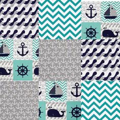 Girl Nursery Colors, Baby Girl Nursery Themes, Baby Nursery Diy, Baby Girl Bedding, Baby Rag Quilts, Boy Quilts, Nautical Quilt, Nautical Theme, Whale Nursery