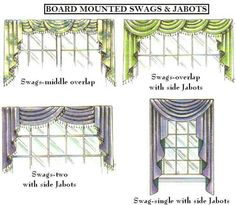 Draperies - Swags and Jabot Ideas Valences For Windows, Drapes And Blinds, No Sew Curtains, Custom Curtains, Curtain Tutorial, Curtain Designs, Curtain Ideas, Home Garden Design, Custom Window Treatments