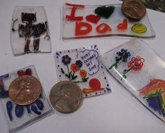 "Homemade ""Shrinky Dinks"" from #6 plastic ""trash."" YES!! (idea on blog is for Father's Day keychains)"