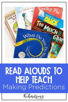 Bring your lesson plans to life when you teach how to make predictions to your kindergarten, first, and second grade students with these amazing books for mentor texts. Teaching making predictions doesn't have to be difficult or boring! Your readers will love these books, and you'll love how these books help your readers grow strong foundations! Reading Comprehension Skills, Reading Fluency, Reading Resources, Reading Activities, Help Teaching, Teaching Reading, Children's Books, Good Books, Making Predictions