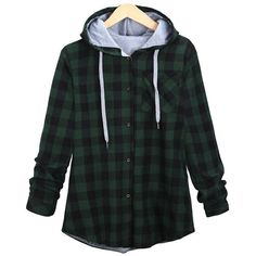 Long Sleeve Plaid Single-Breasted Hoodie ($30) ❤ liked on Polyvore featuring tops, hoodies, jackets, flannel, sweaters and sweatshirts, tartan top, flannel top, long sleeve tops, flannel hoodies and hooded sweatshirt