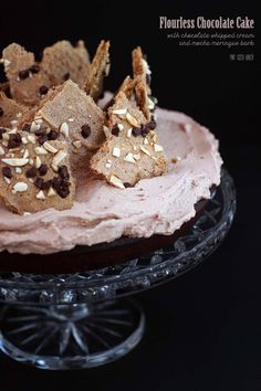 This gluten free chocolate flourless cake is a dense and rich cake covered in whipped cream and topped with mocha meringue bark. Flourless Chocolate Cakes, Gluten Free Chocolate, Chocolate Recipes, Gluten Free Cakes, Gluten Free Desserts, Delicious Desserts, Baking Recipes, Cake Recipes, Dessert Recipes